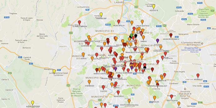 Mappa dell'inquinamento da NO2 a Roma